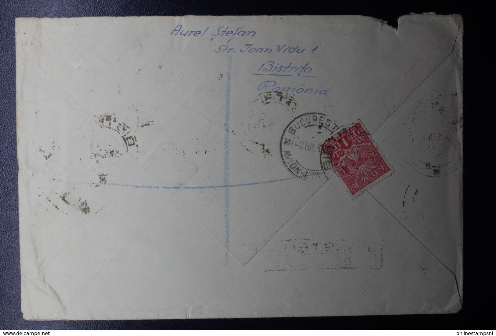 Romania Registered Airmail Cover 1948 7L50 In Tete-beche Pair Bistrita Via Bucuresti To Turnbridge UK - 1948-.... Republieken