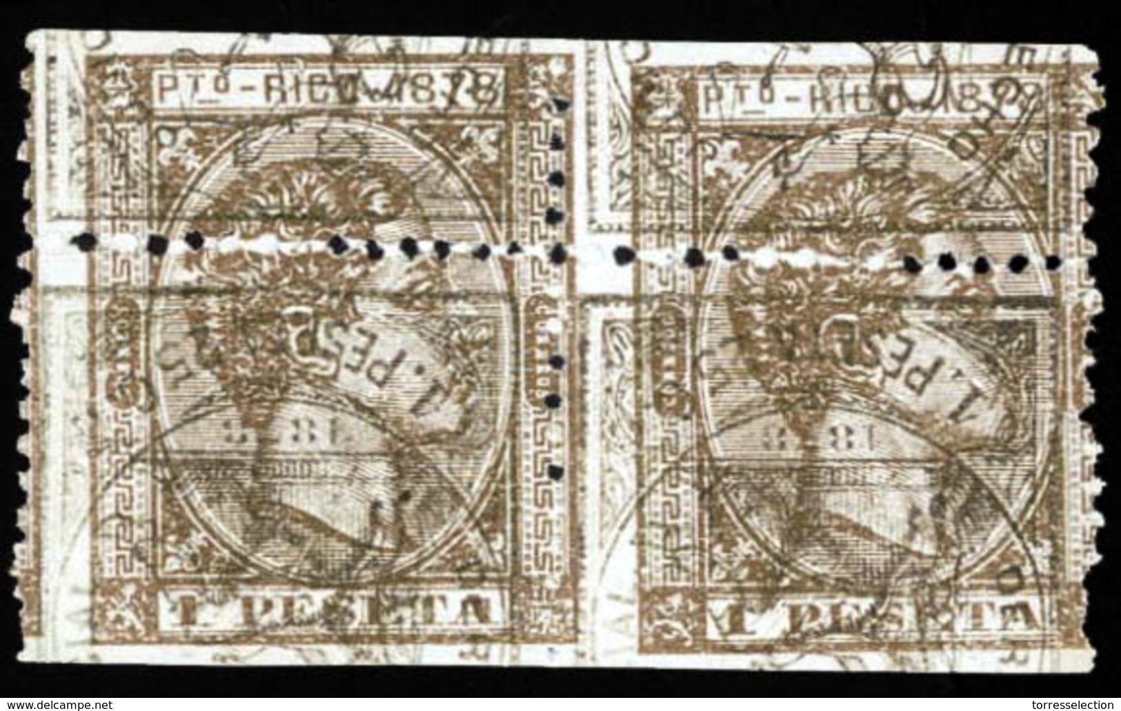PUERTO RICO. PRUEBA. Bloque De 2. 1pta Castaño Bronce Sobre Impresión De España De 1878 De Derecho Judicial 1 Pta 25c, I - Puerto Rico