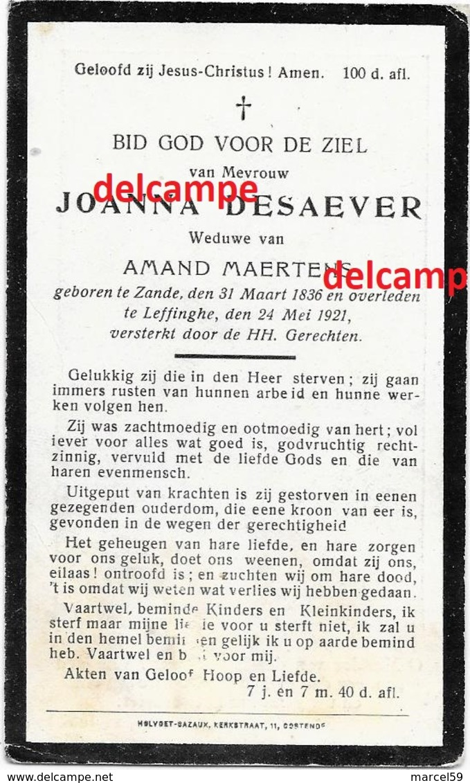 Doodsprentje Jjoanna Desaever Zande 1836 En Overleden Te Leffinge 1921 Maertens Amand - Images Religieuses