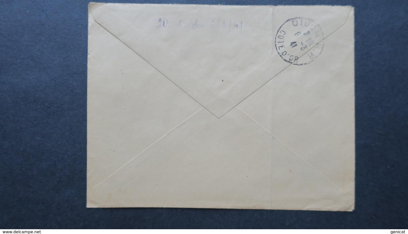 Lettre Recommandé Autun Mars 1941 Affranchissement Petain 472 Et 473 Pour Dijon - Guerre De 1939-45