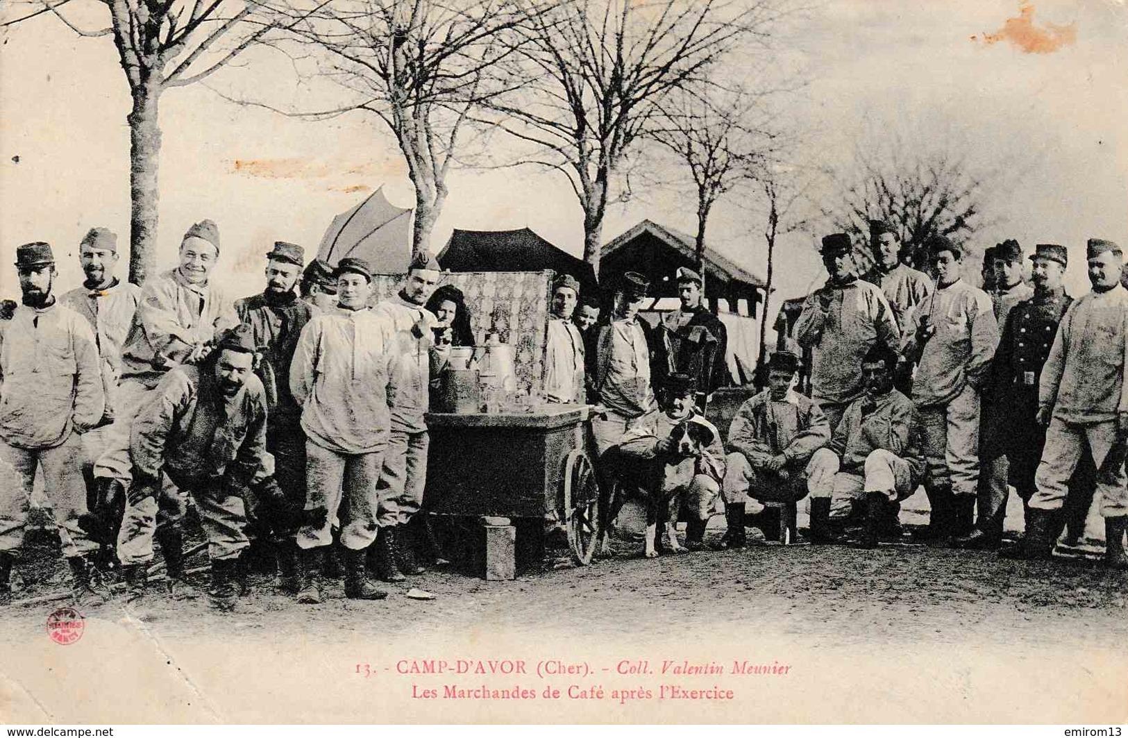 18 Camp D'Avor Militaire Attelage De Chien 1907 - Avord