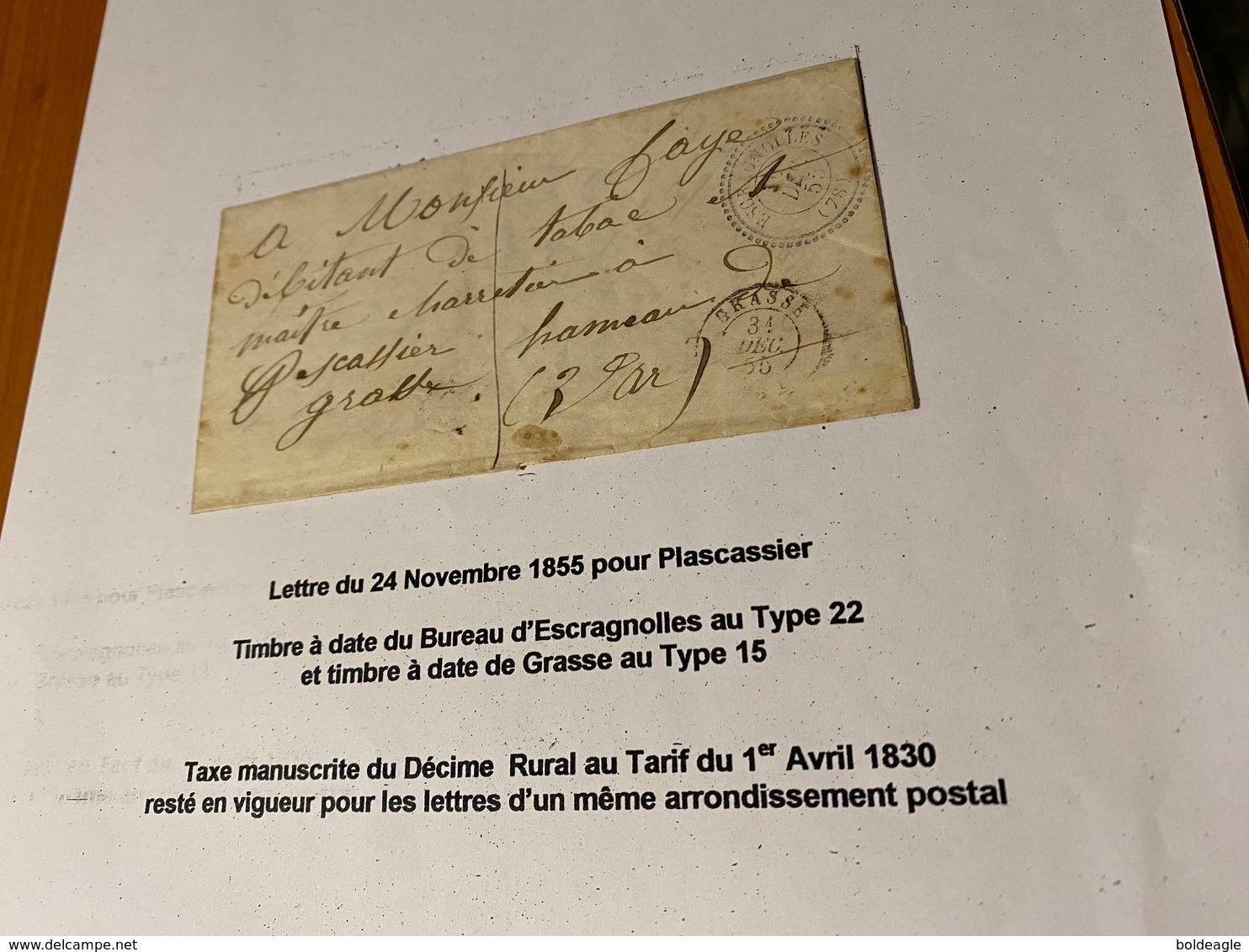 LETTTRE - DU  24 /11/1855 -POUR Plascassier ( Descriptif General Voire Scan LETTRE ) - Port Offert - 1849-1876: Klassieke Periode