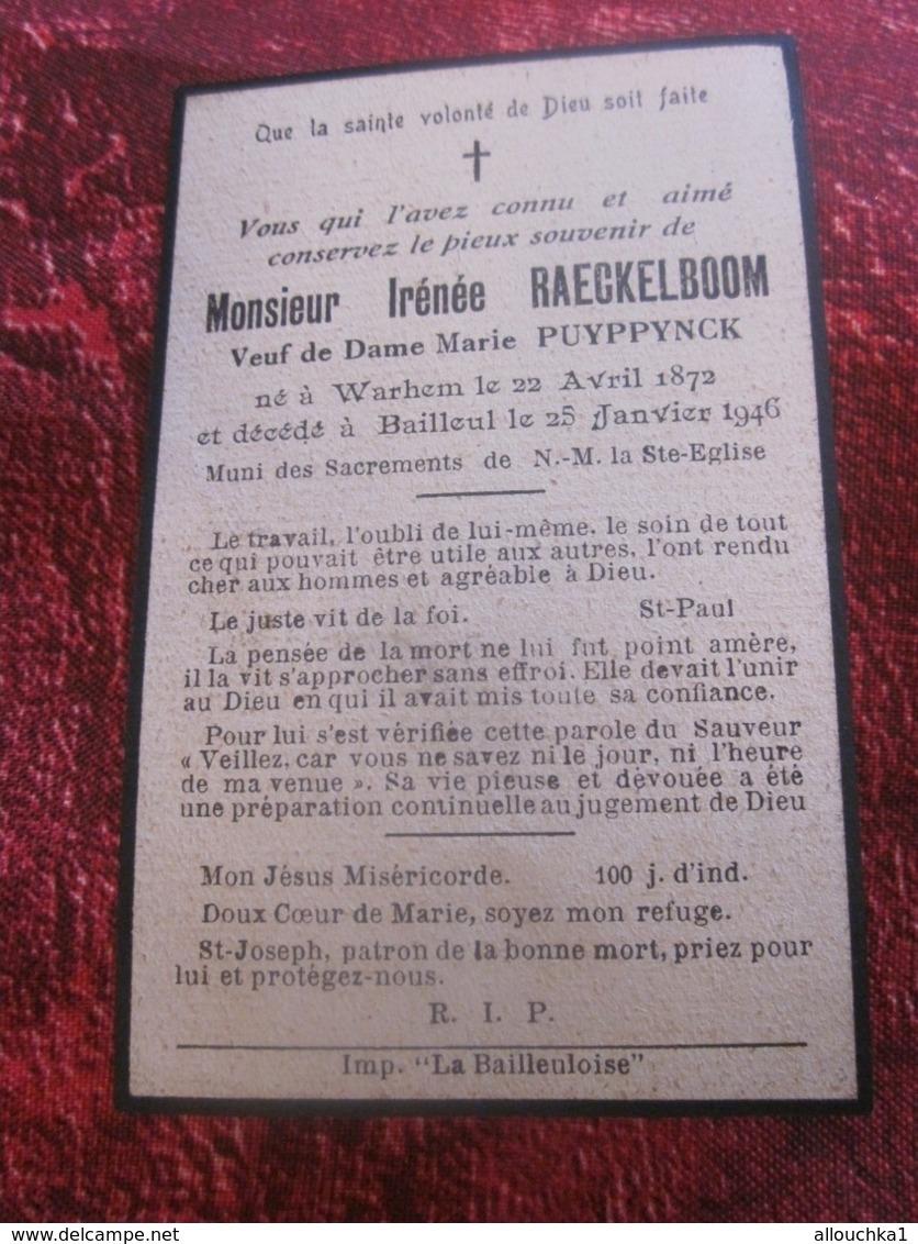 1872/1946 Warhem / Bailleul-Chromo Image Religieuse Souvenir Mortuaire RELIGION CHRÉTIENNE-ÉSOTÉRISME - Santini