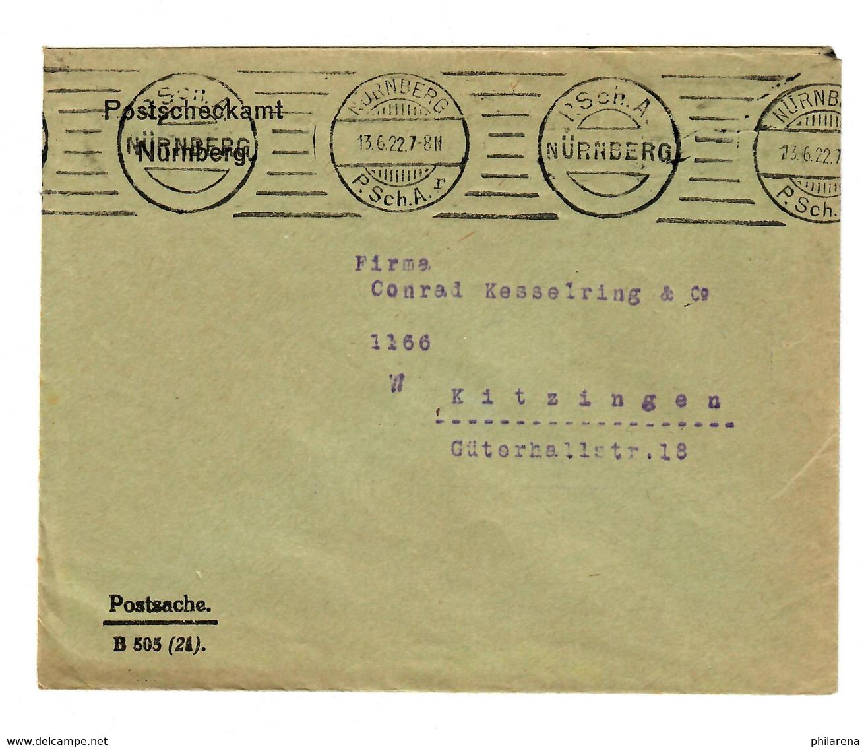 Nürnberg Postscheckamt 1922 Als Postsache Nach Kitzingen - Deutschland