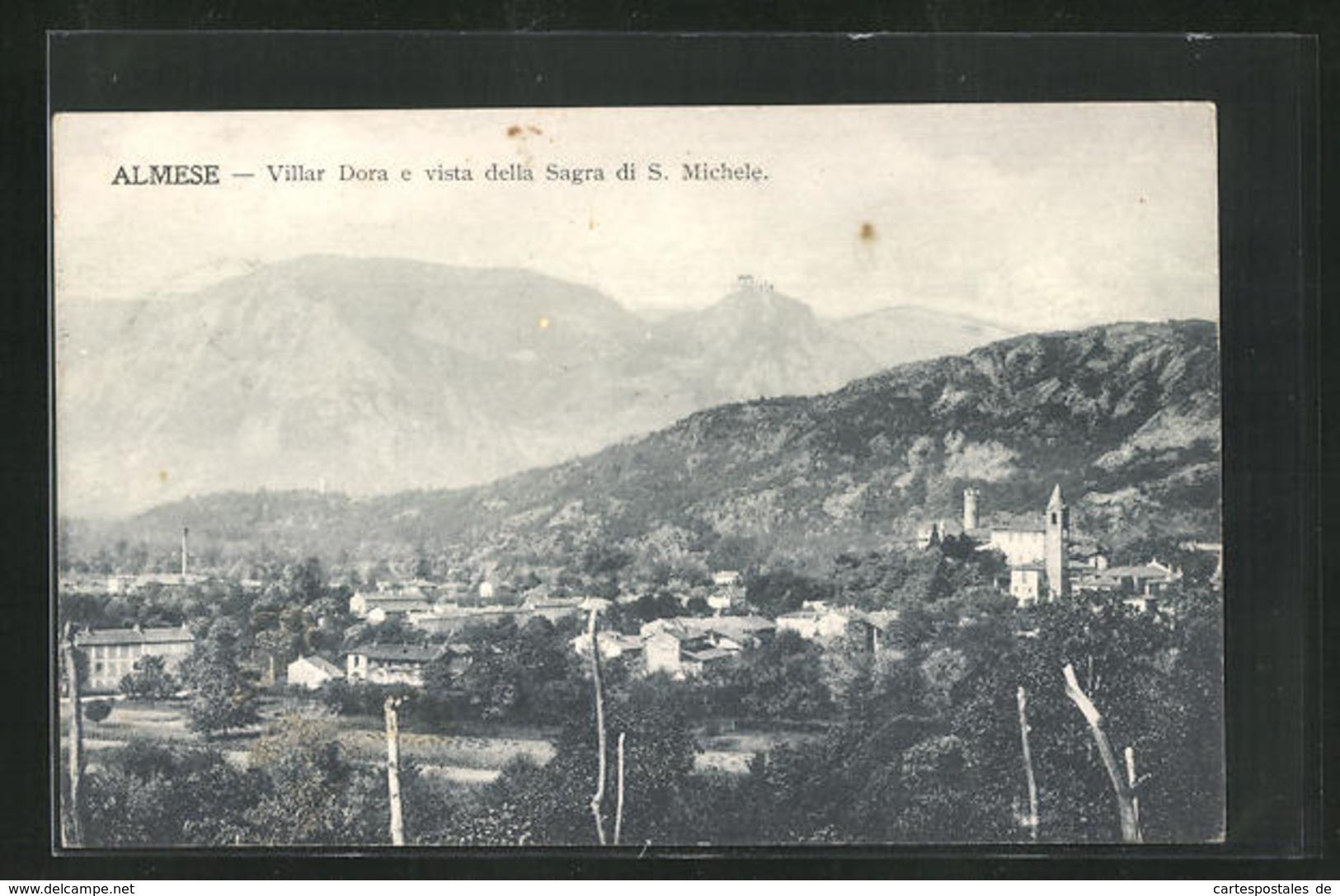 Cartolina Almese, Villar Dora E Vista Della Sagra Di S. Michele - Otras Ciudades