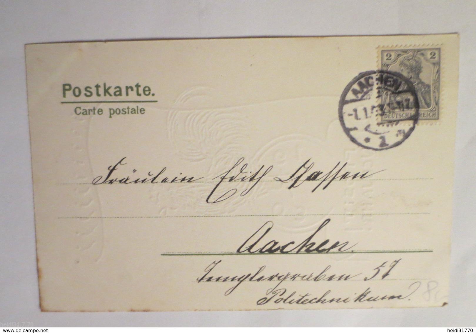 """""""Neujahr, Hahn,  Sanduhr,  Jahreszahl, Jugendstil"""" 1903, Golddruck  ♥   - Anno Nuovo"""