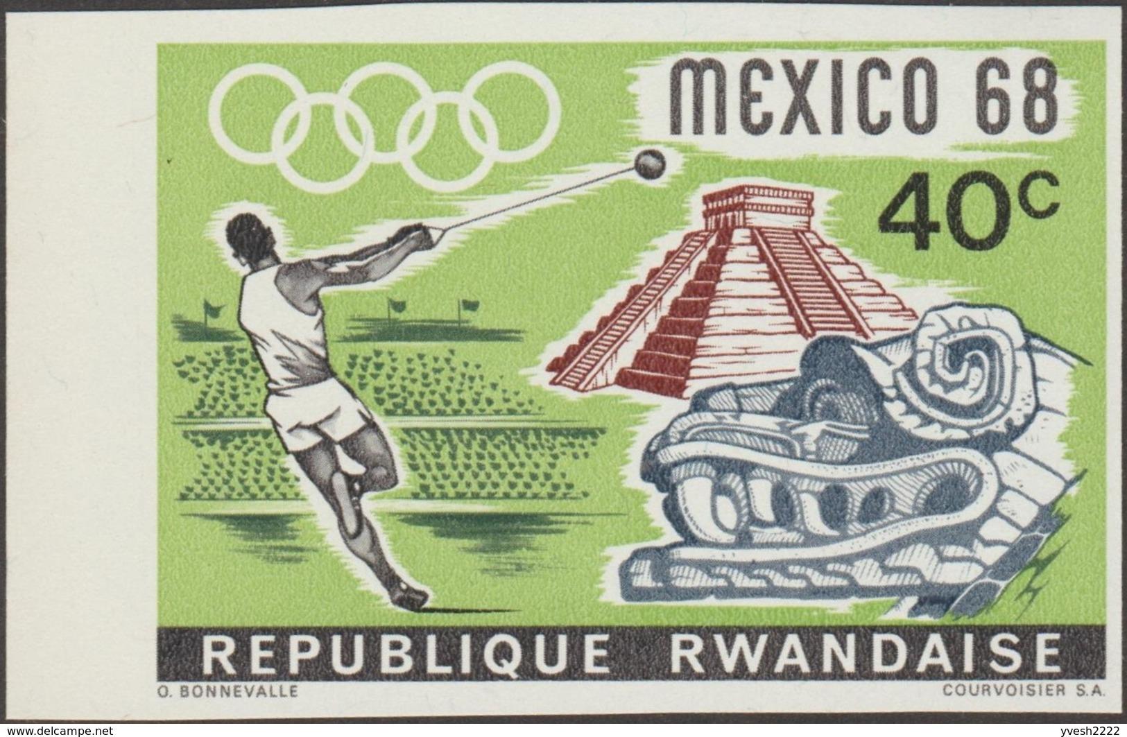 Rwanda 1968 COB 243/6. Non Dentelés En Paires. Jeux Olympiques De Mexico. Sports Et Archéologie, Athlétisme - Zomer 1968: Mexico-City