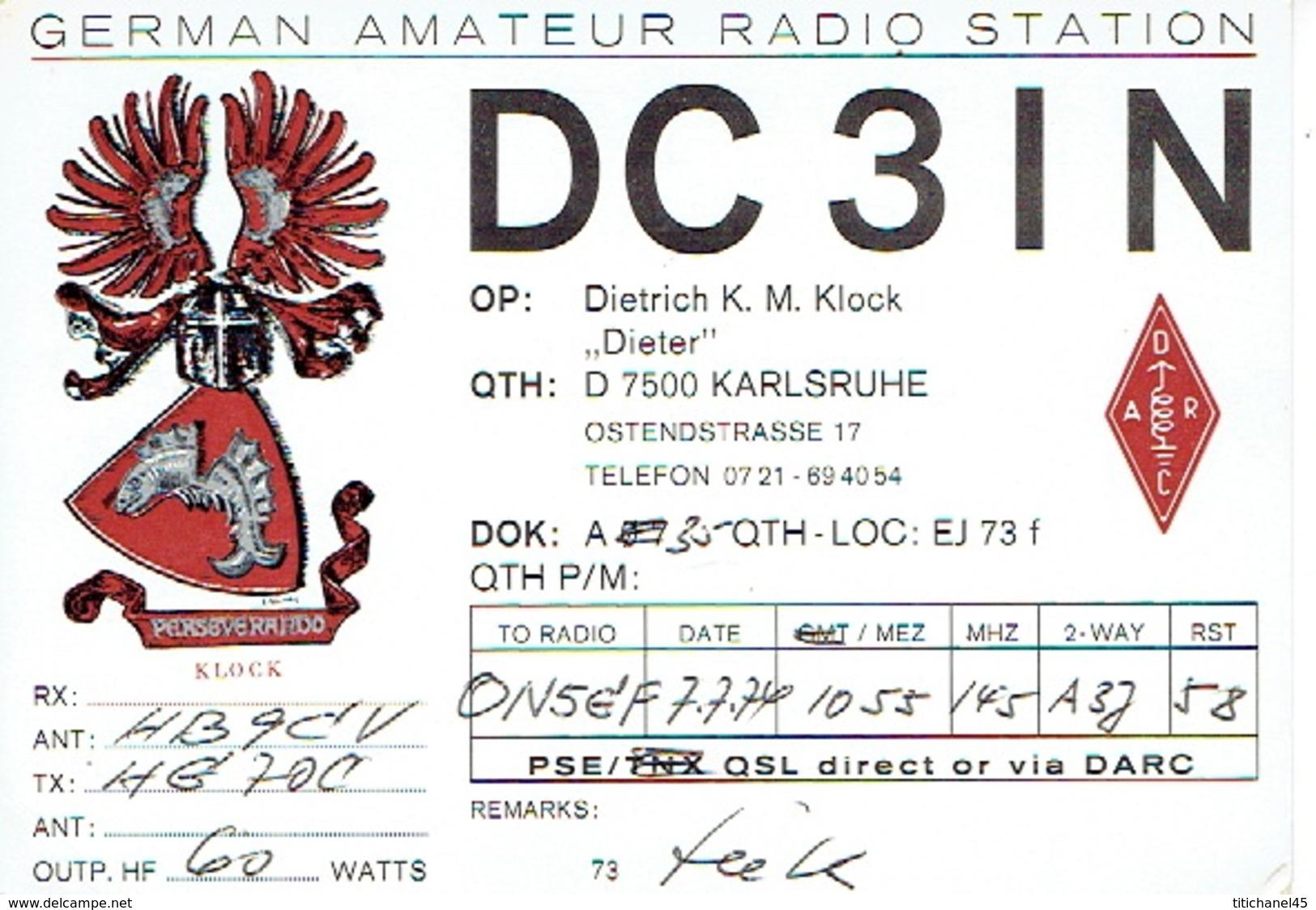 QSL - GERMANY - DC3IN - DIETRICH K. M. KLOCH - KARLSRUHE -  1974 - Radio Amateur