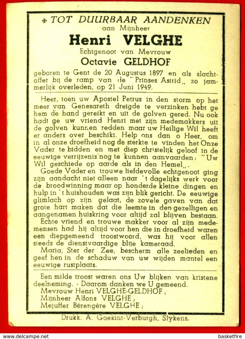 """Bidprentje Henri Velghe (Gent 1897 - 1949) - Slachtoffer Ramp """"Prinses Astrid"""" (boot) - Images Religieuses"""