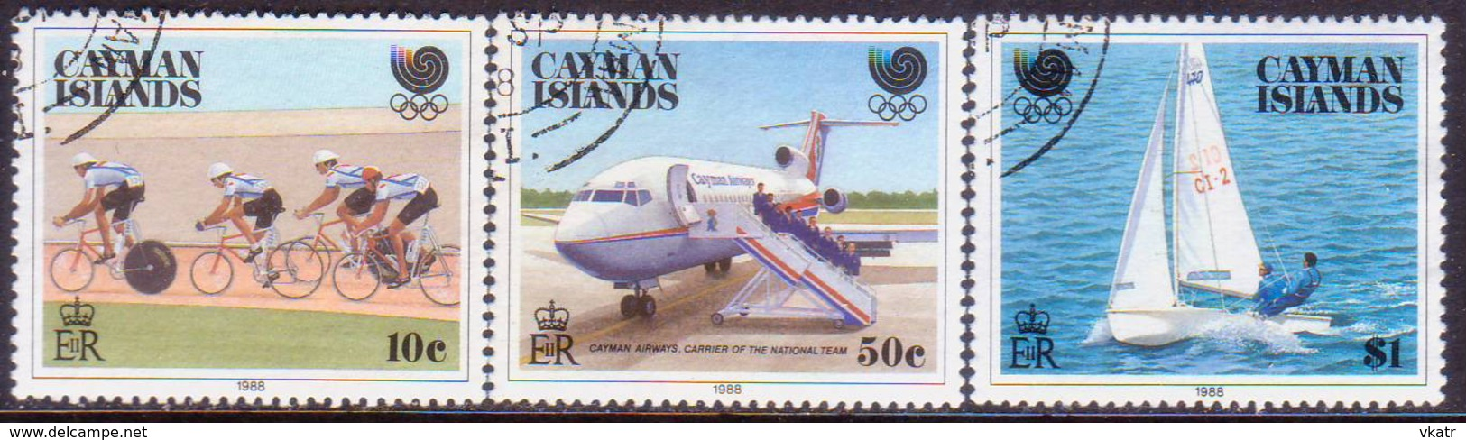 Cayman Islands 1988 SG #671-74 Compl.set+m/s Used Olympic Games, Seoul - Caimán (Islas)