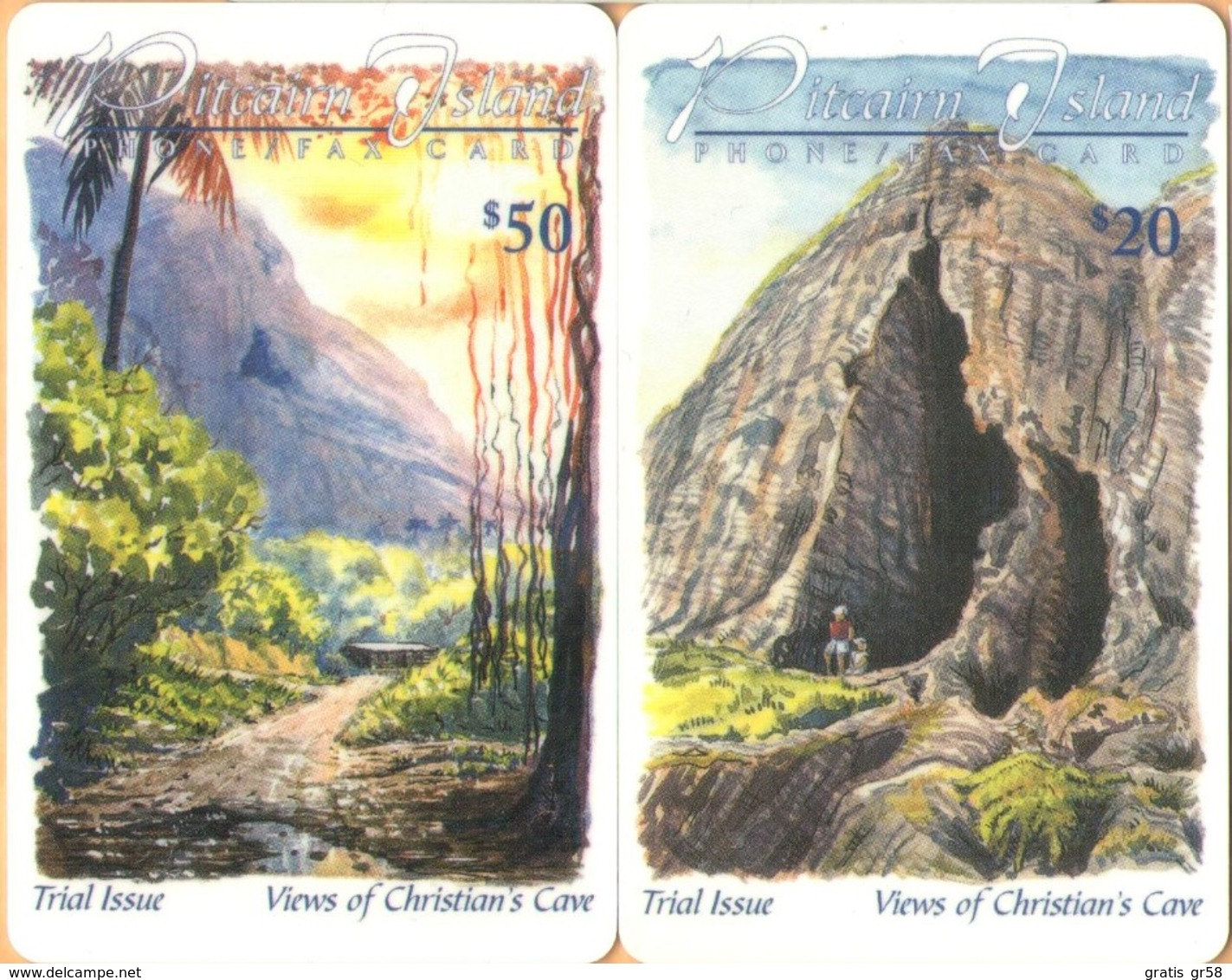 Pitcairn Isl. - PIT-0001/2/3/4, Trial Issue, Magnetic, Set Of (4) Four, 5/10/20/50 $, 1000ex, 1998, Mint - Pitcairn Islands