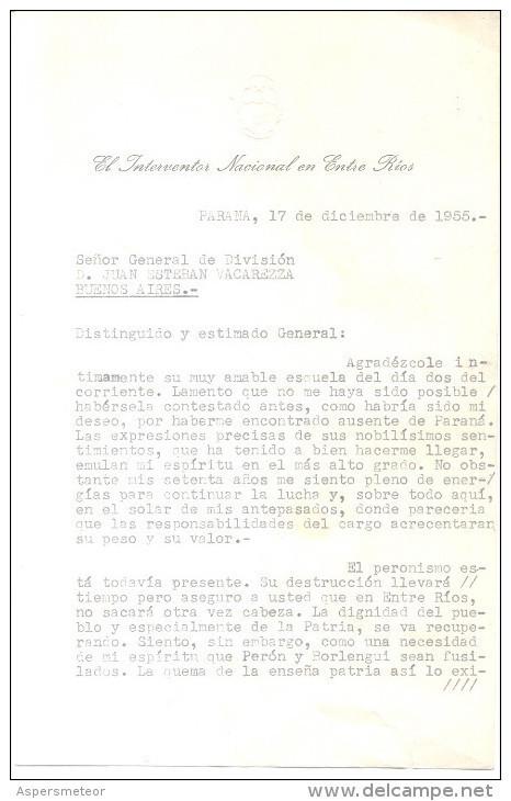 HAY QUE MATAR A PERON Y A BORLENGHI - CARTA ORIGINAL DEL 17 DE DICIEMBRE DE 1955 DIRIGIDA AL JEFE DE LA POLICIA FEDERAL - Historical Documents