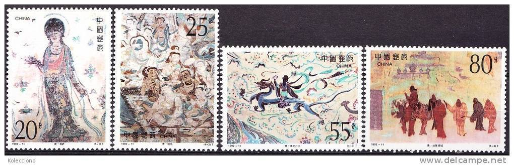 China 1992 Yvert 3132 / 35, Buddhist Frescos At Dunhuang (IV), MNH - 1949 - ... Volksrepublik