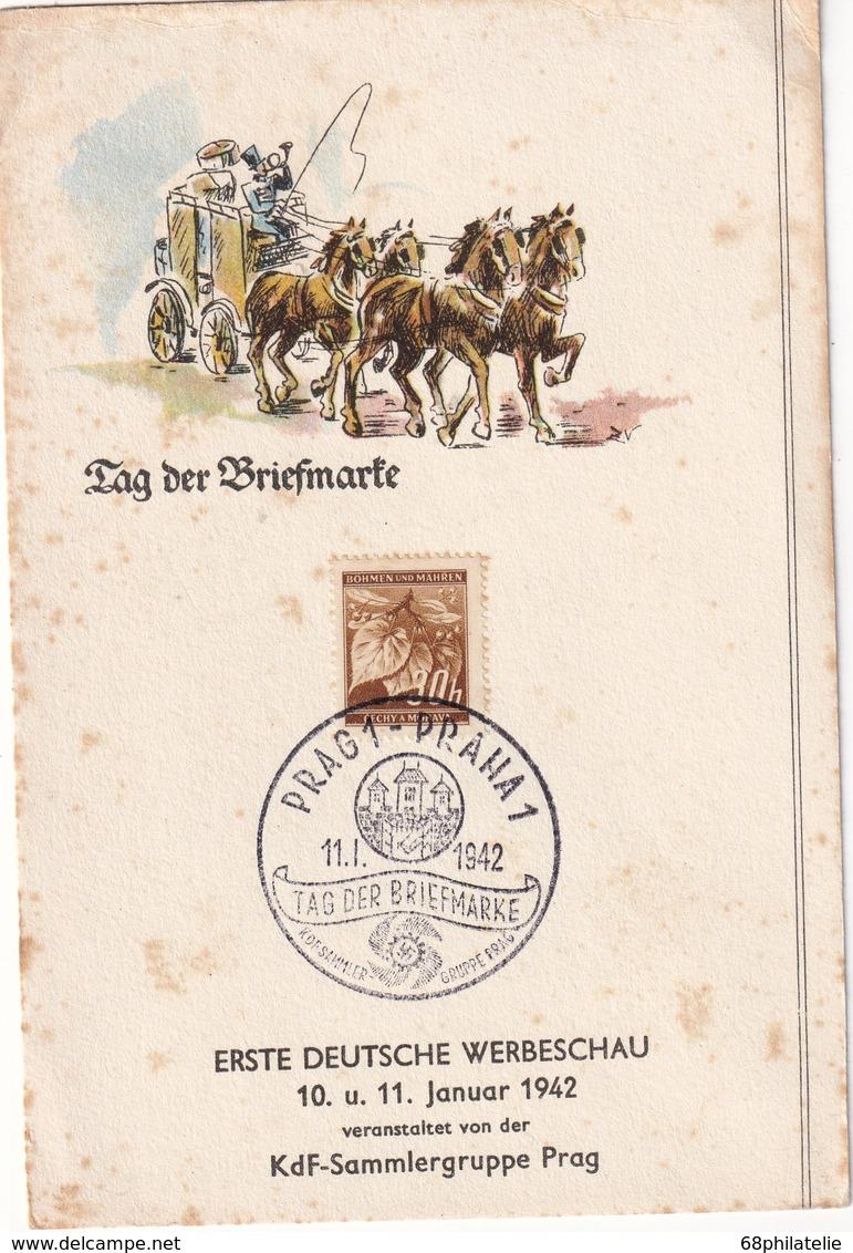 BOHEME ET MORAVIE 1942 CARTE SOUVENIR DE PRAHA - Bohême & Moravie