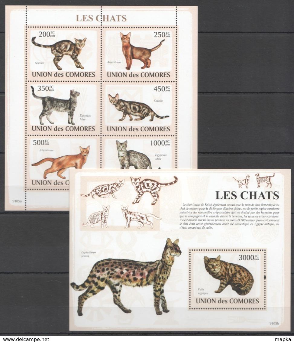 UC061 2009 UNION DES COMORES PETS CATS LES CHATS 1BL+1KB MNH - Gatti