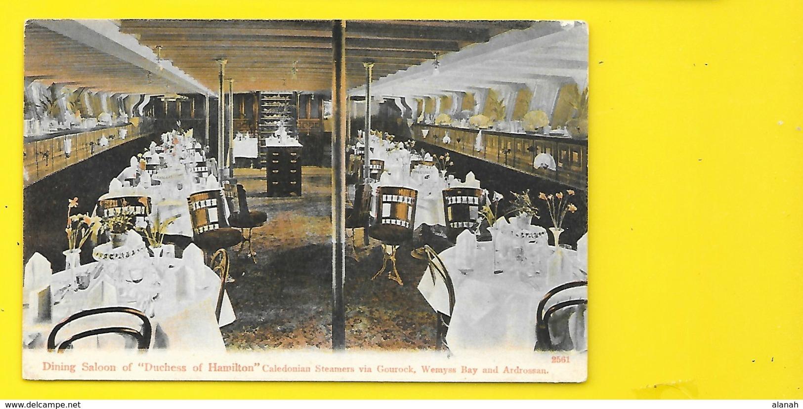 "Rare Steamer ""DUCHESS Of LONDON"" Dining Saloon Caledonian Via Gourock Wemyss Bay And Ardrossan - Paquebots"