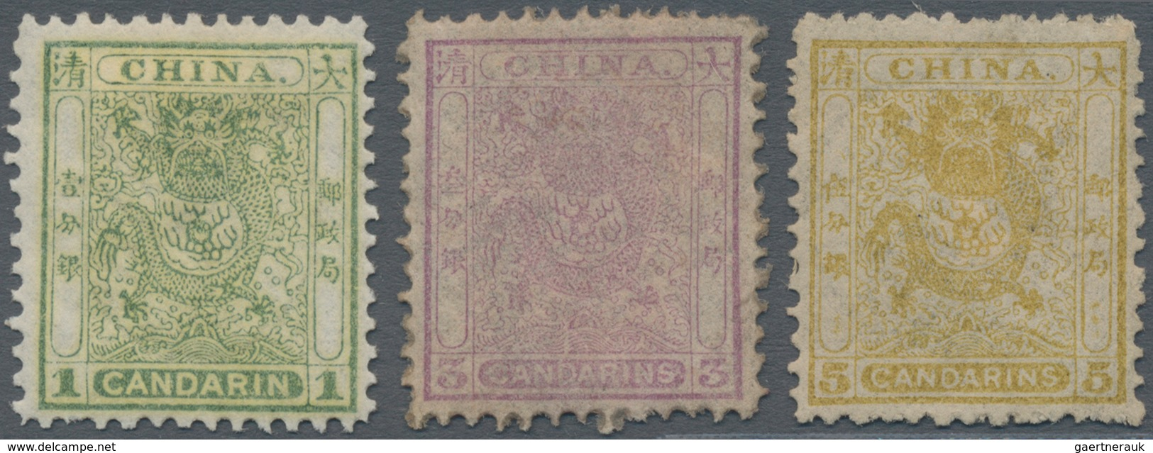 China: 1888, Small Dragons Second Printing Perf. 11.5-12, Complete Set Of Three, MH, Very Fresh Colo - Chine