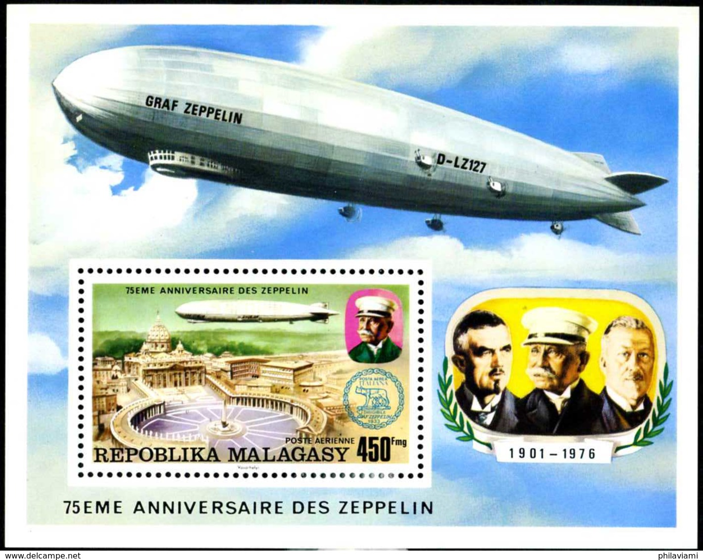 MAdagascar 1976 Sheet Zepplin 75 Years Graf Zeppelin - Zeppelins