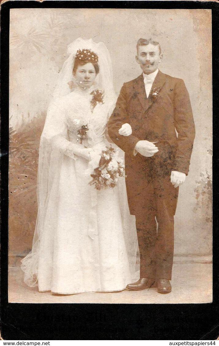 Grand Tirage Photo Albuminé Original Cartonné Couple De Mariés Polonais Par Gustav Zilt à Lidzbark Warmiński, Heilsberg - Anciennes (Av. 1900)