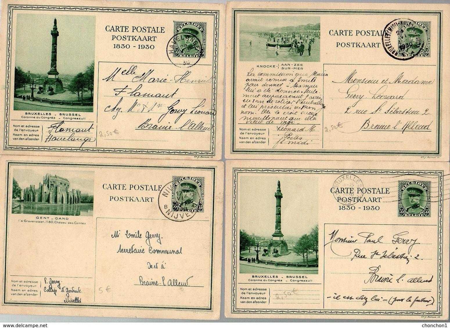 BELGIQUE - 4 CP ILLUSTREE  - BRUXELLES BRAINE L'ALLEUD NIVELLES HAVELANGE - TTB - KX5 - Illustrat. Cards