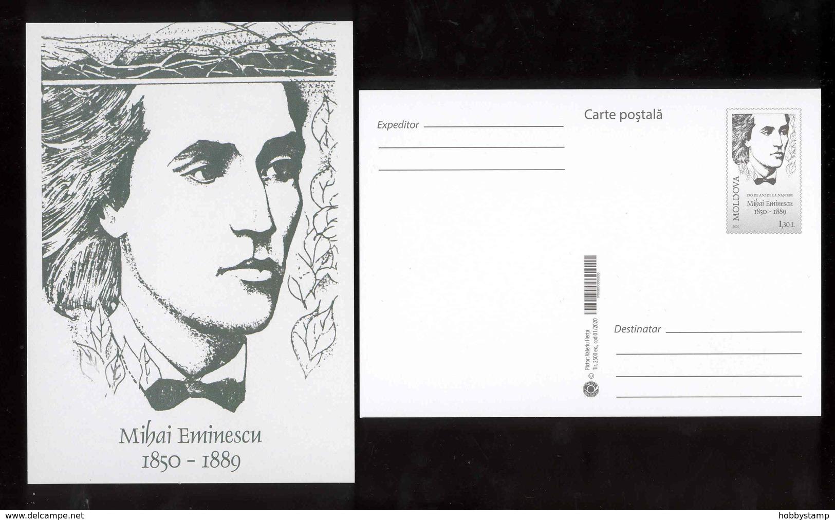Moldova 2020 170th Anniversary Of The Birth Of Eminescu Prep.PC + FDC - Moldova