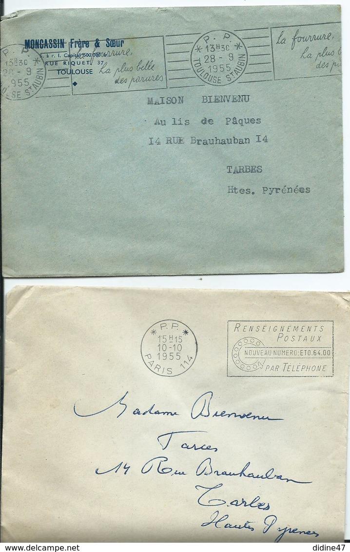 FRANCE - Lot De 2 Lettres Avec Flammes P.P. - Marcophilie (Lettres)
