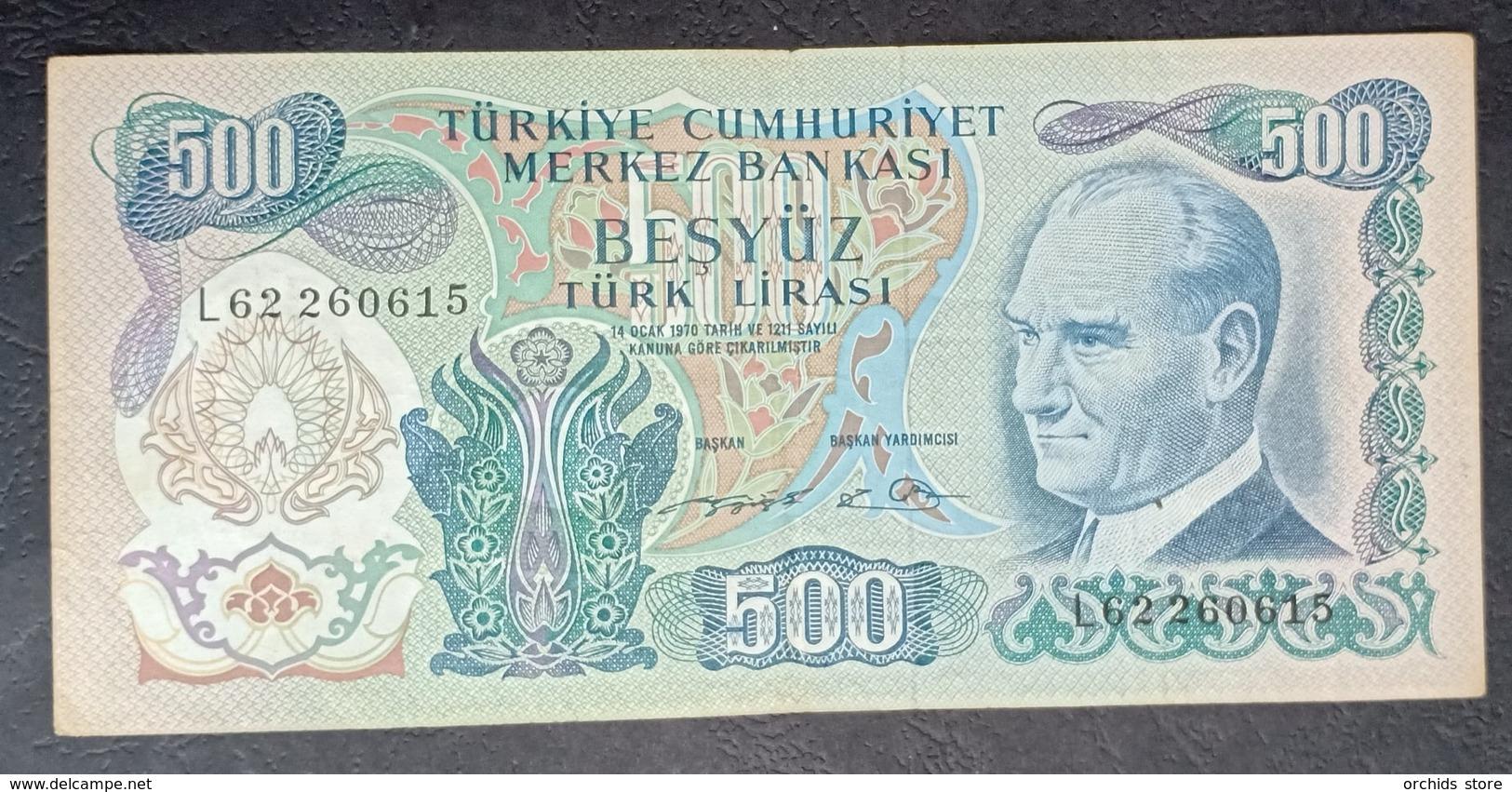 AF - Turkey Banknote 1971 500 LIRAS P-190d L62 260615 - Turkey