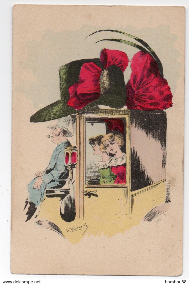 Illustrateur ROBERTY * FEMME ELEGANTE * CHAPEAU NOEUD * CALECHE/FIACRE * COCHER * LAMPE - Illustratori & Fotografie