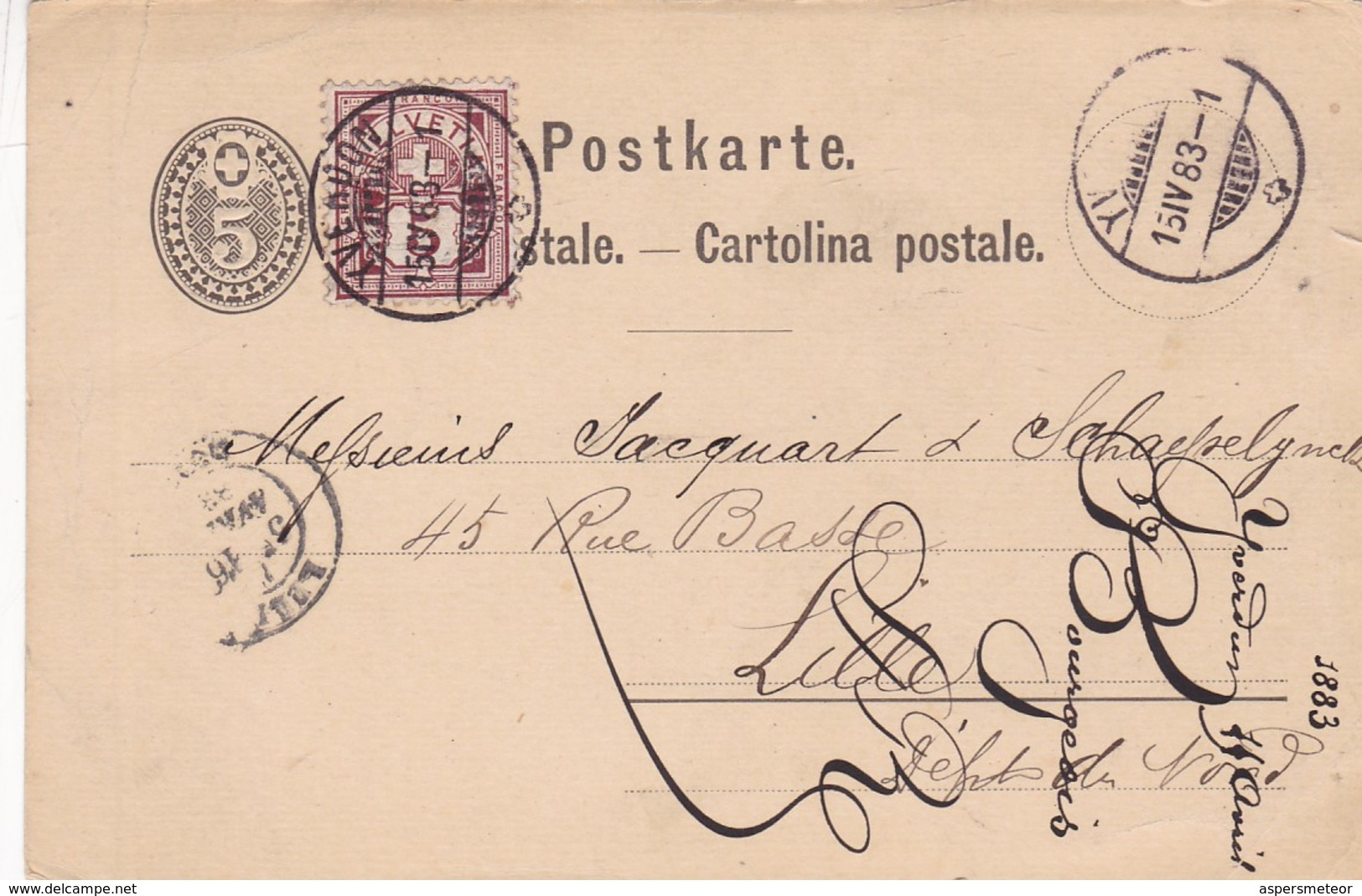 SWITZERLAND ENTIRE POSTAL CIRCULATED 1883 YVERDON TO LILLE, FRANCE. WITH ADDITIONAL STAMP -LILHU - Interi Postali