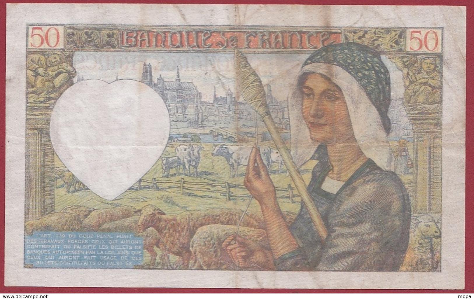 "50 Francs ""Jacques Coeur"" Du 18/12/1941.K----VG/TTB---ALPH.U.151--1 TROU D EPINGLE - 1871-1952 Antichi Franchi Circolanti Nel XX Secolo"