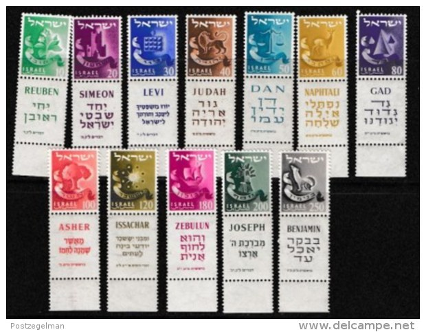 ISRAEL, 1955, Mint Never Hinged Stamp(s), Definitive's Tribes,   SG 115-126,  Scan 17007,  With Tab(s) - Nuevos (con Tab)
