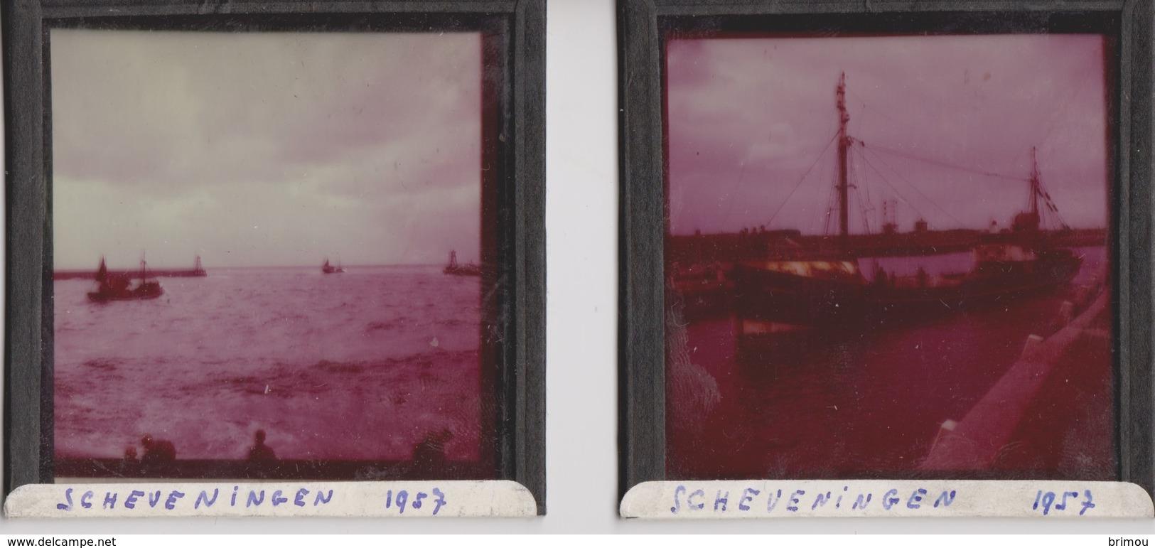 Scheveningen, 2 Plaques En Verre Photo 1952. - Plaques De Verre