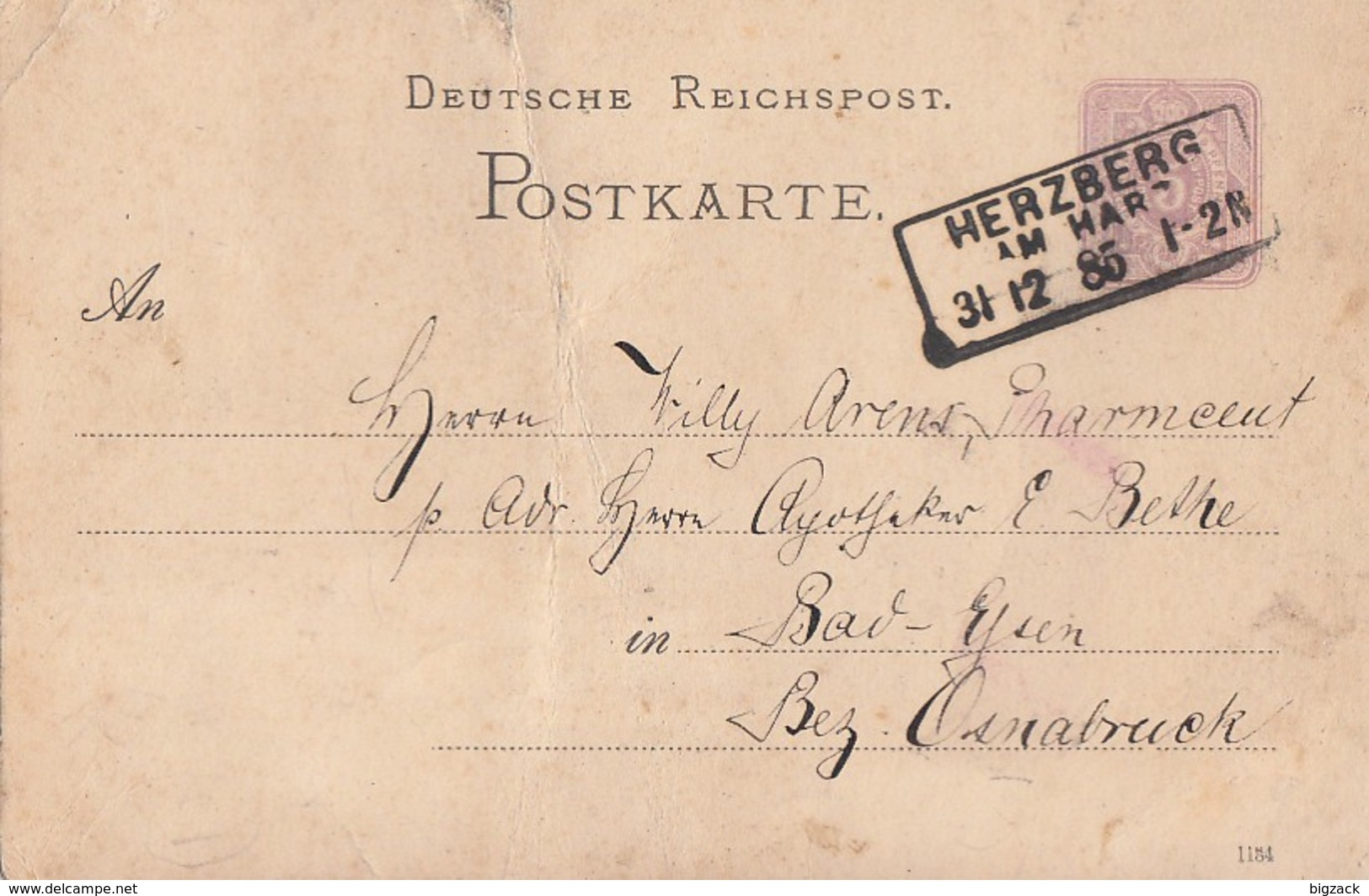 DR Ganzsache R3 Herzberg Am Harz 31.12.85 Ansehen !!!!!!!!!! - Germania