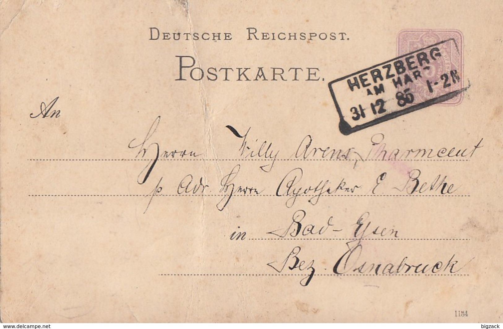 DR Ganzsache R3 Herzberg Am Harz 31.12.85 Ansehen !!!!!!!!!! - Brieven En Documenten
