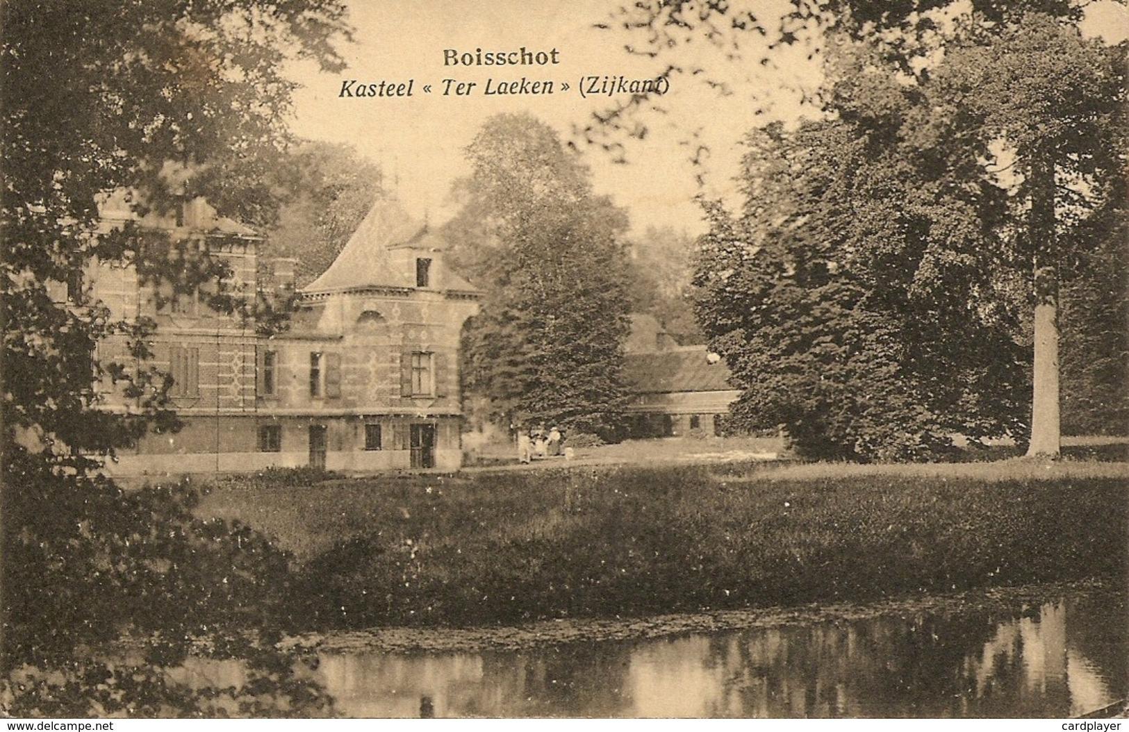 BOISSCHOT / Booischot - Kasteel Ter Laeken (langs De Zijkant)  - Met Volk Op Het Kasteel  - 1936 - Heist-op-den-Berg