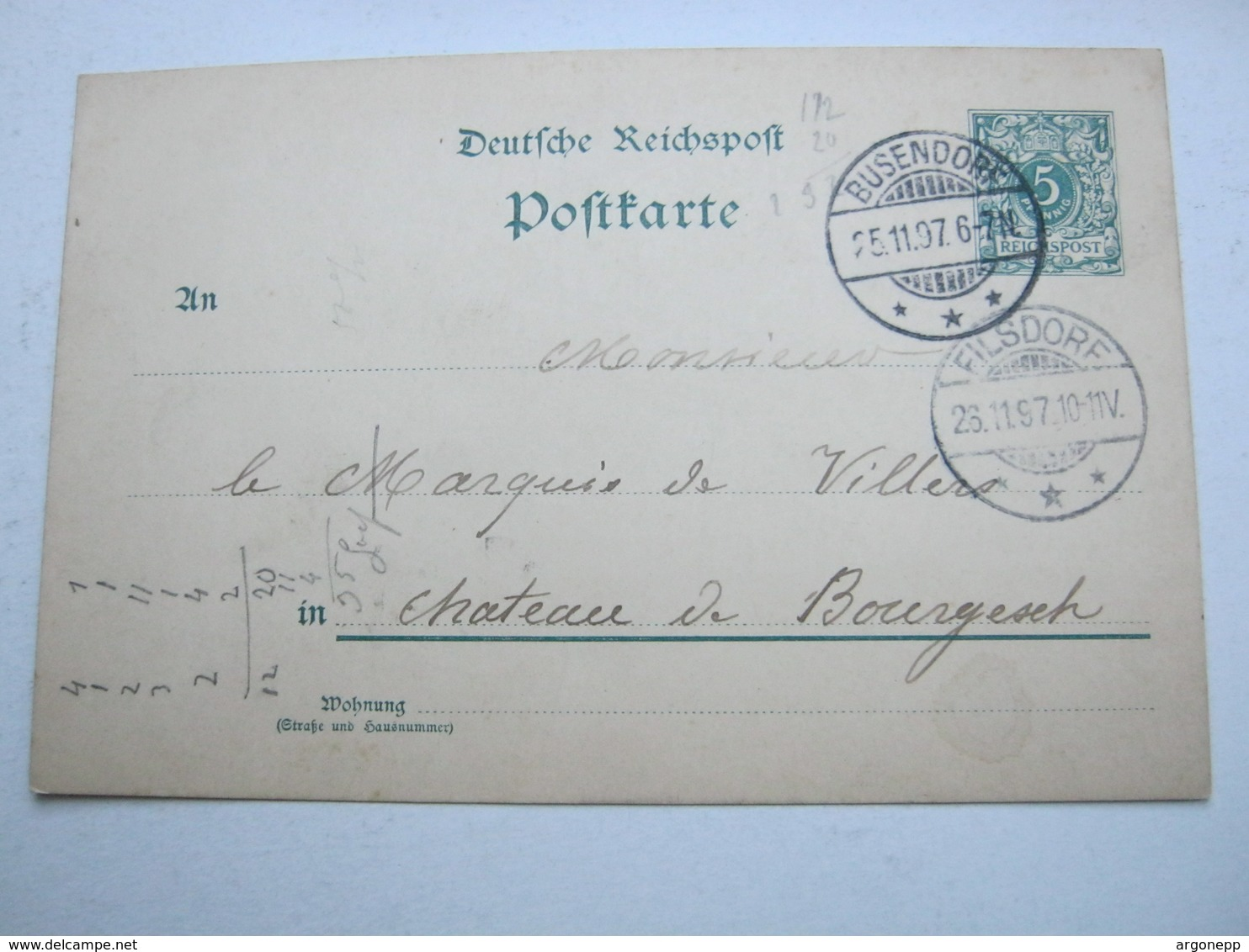 1897 , BUSENDORF   , Klarer    Stempel Auf   Beleg - Brieven En Documenten