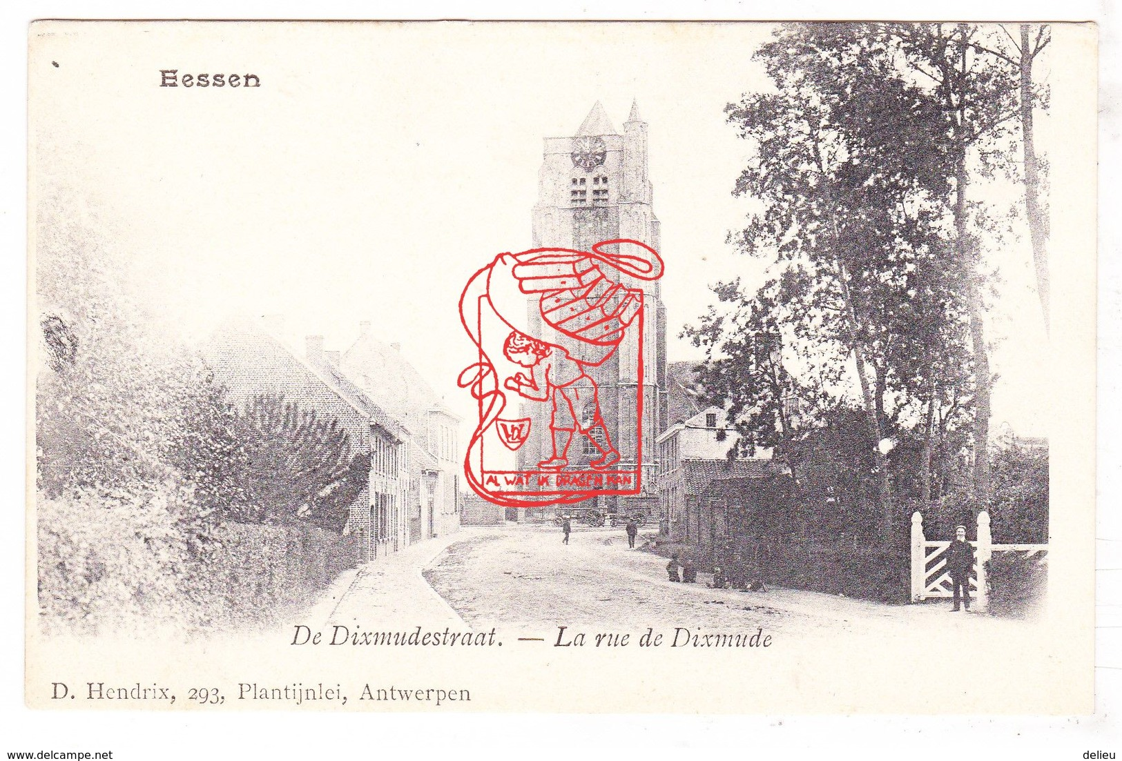 PK CPA  Esen Diksmuide - Diksmuidestraat Met Sint-Pieterskerk - Ed. Hendrix - Diksmuide