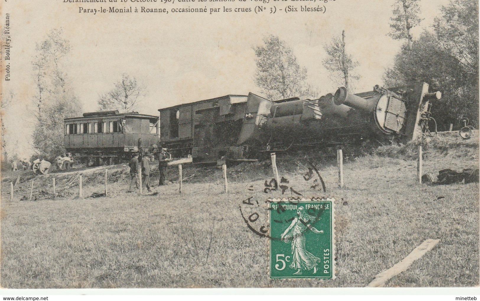 42 Deraillement Du 16 Octobre 1907 Entre Les Stations De Vougy Et Le Côteau Licne Paraye Le Monial Roanne .... - Otros Municipios