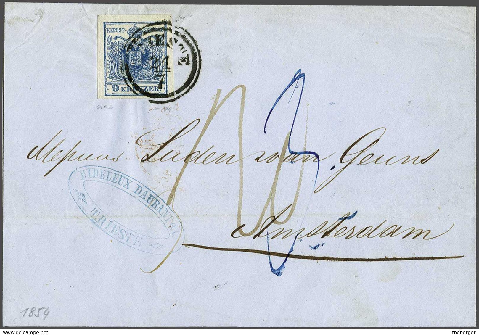 Österreich Niederlande Netherlands 1854 Faltbriefhülle Trieste Nach Amsterdam, 9 Kr. Marke, Teilfranko Bis Grenze (1775) - 1850-1918 Imperium