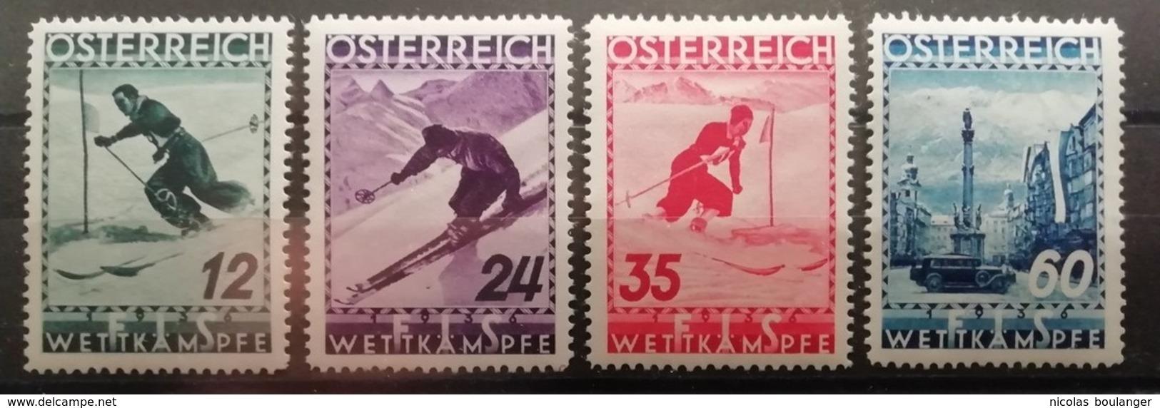 Autriche 1936 / Yvert N°477-480 / * / Championnats Du Monde De Ski - 1918-1945 1st Republic