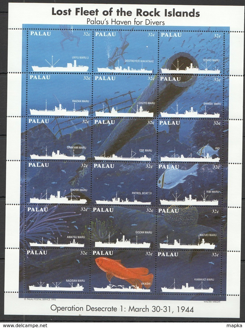PK370 PALAU SHIPS HISTORY OPERATION DESECRATE 1KB MNH - Ships