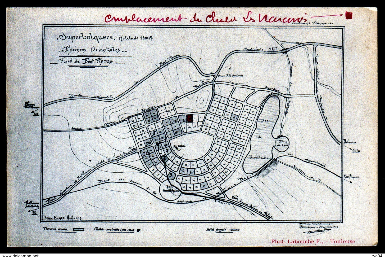 CPA ANCIENNE- FRANCE- SUPERBOLQUERE (66)- PLAN DU LOTISSEMENT DES CHALETS CONSTRUITS DE 1913 A 1920 - France