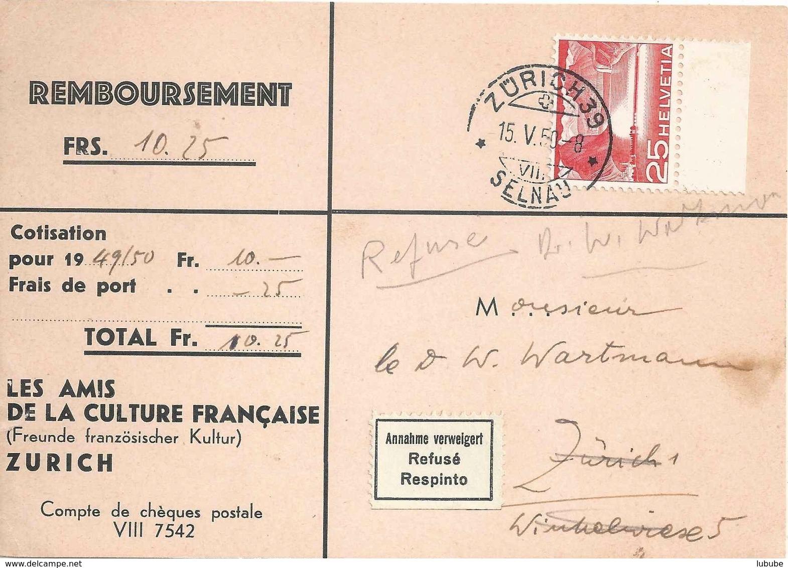 """NN Karte  """"Les Amis De La Culture Française, Zürich""""             1950 - Suisse"""