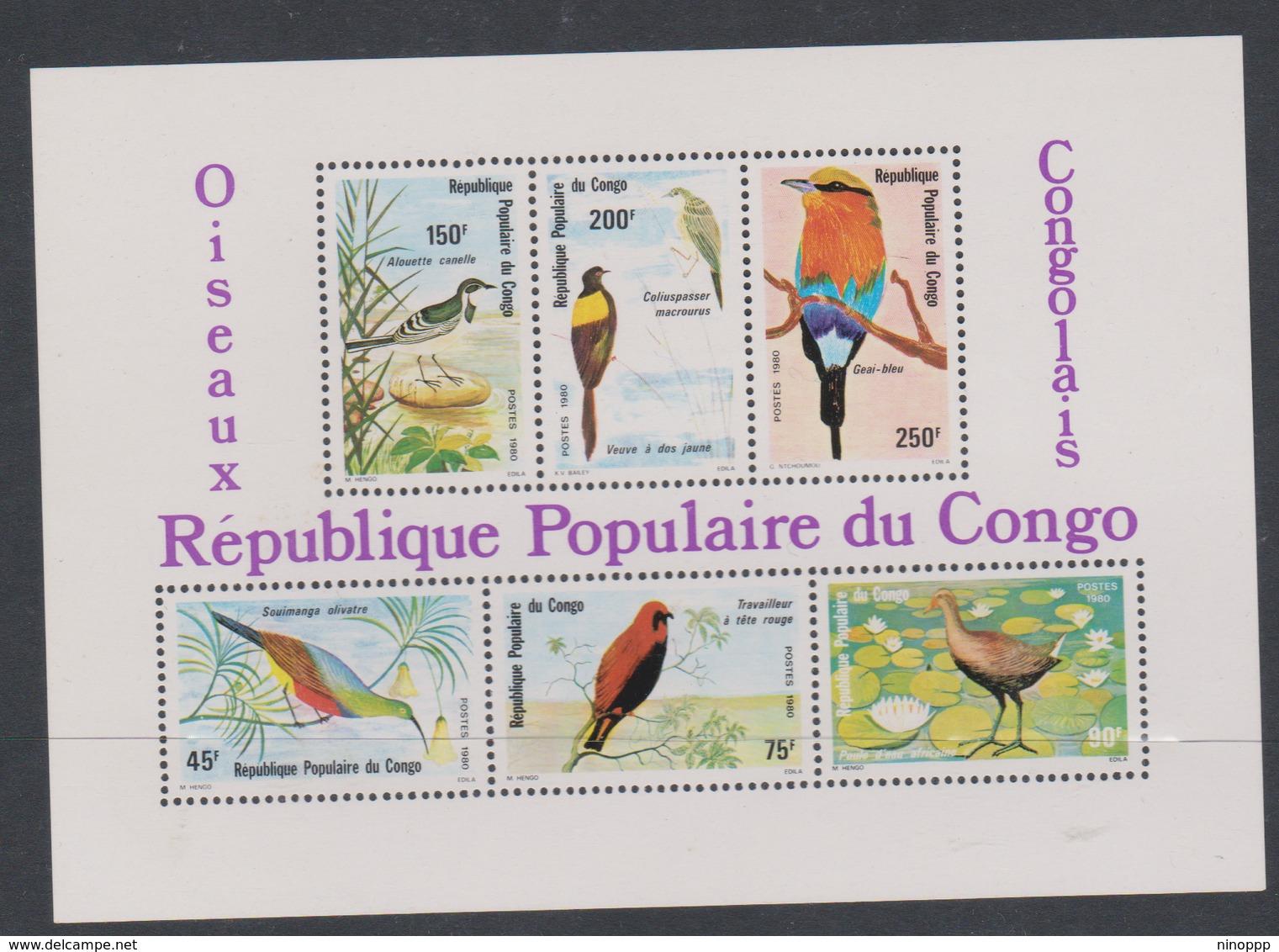 Congo People's Republic Scott 556a 1980 Birds,souvenir Sheet.mint Never Hinged - Parrots