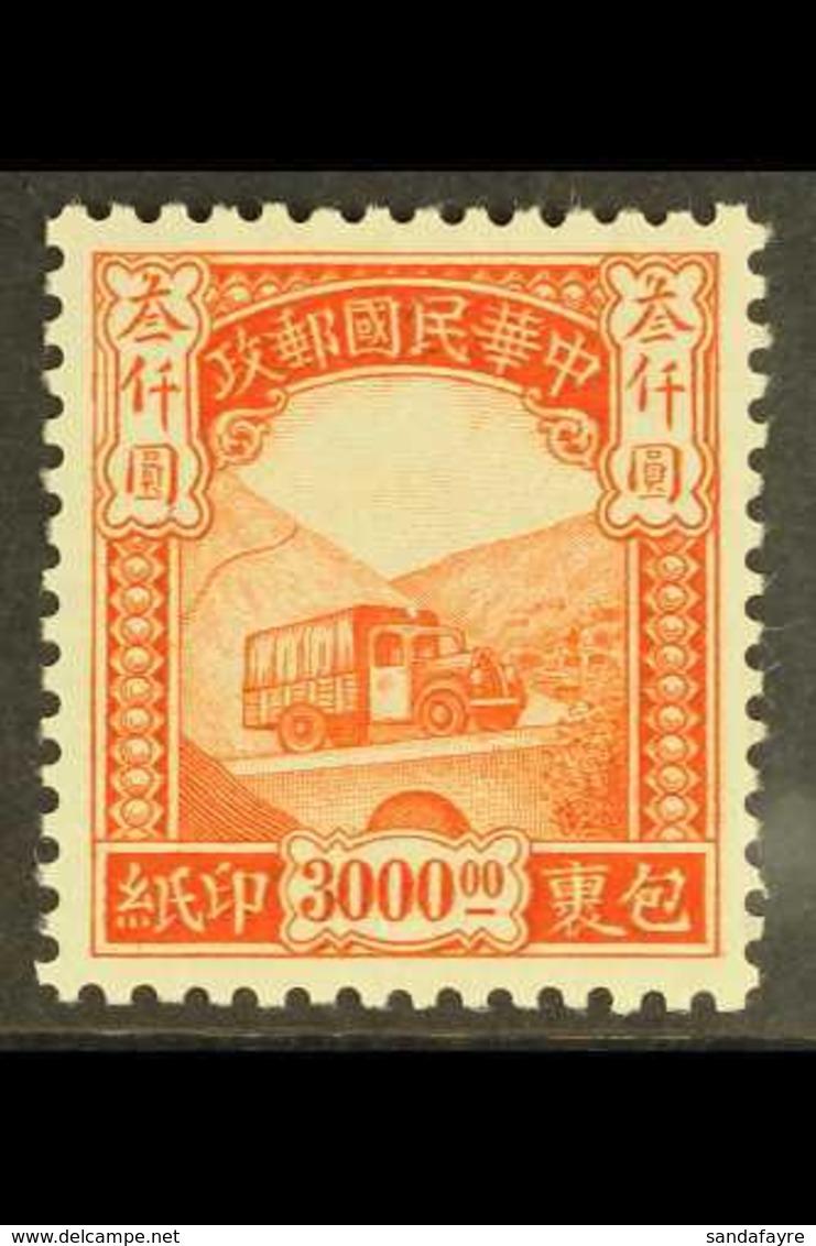 1946 $3,000 Red Orange Parcels Post, SG P814, Fine Mint. For More Images, Please Visit Http://www.sandafayre.com/itemdet - Unclassified