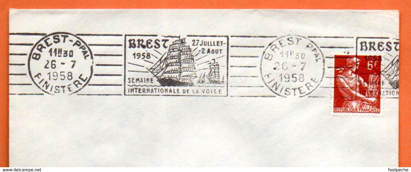 BREST    SEMAINE DE LA VOILE    1958 Lettre Entière N° BC 845 - Marcophilie (Lettres)