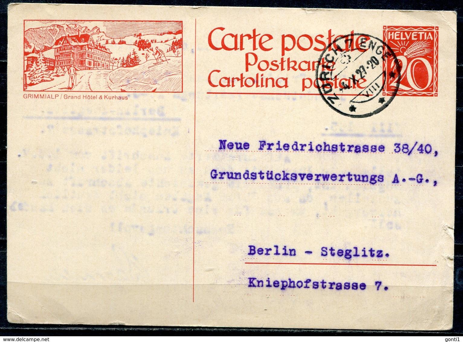 """Schweiz 1927 Bildpostkarte Mi.Nr.P????-20er,rot"""" Grimmialp,Kurhaus"""" Befördert """"Zürich-Berlin,Germany  """"1 GS Used - Ganzsachen"""