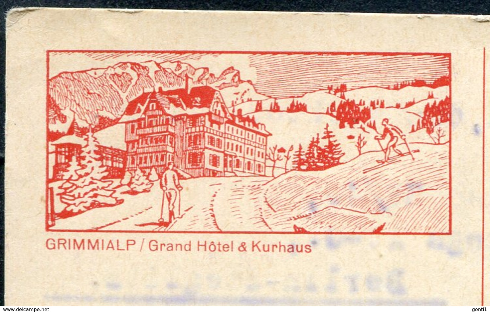 "Schweiz 1927 Bildpostkarte Mi.Nr.P????-20er,rot"" Grimmialp,Kurhaus"" Befördert ""Zürich-Berlin,Germany  ""1 GS Used - Interi Postali"