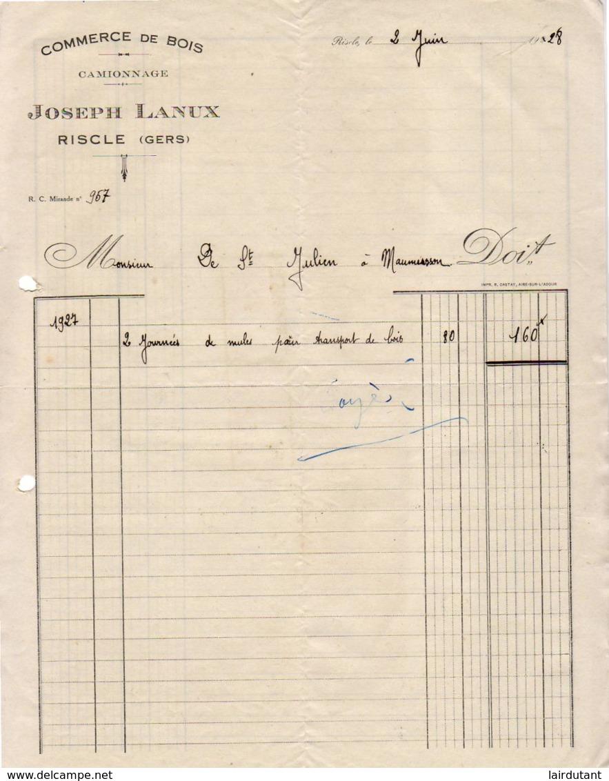 COMMERCE DE BOIS  JOSEPH LANUX A RISCLE   .......... FACTURE DE 1928 ( Location De Mules ) - France