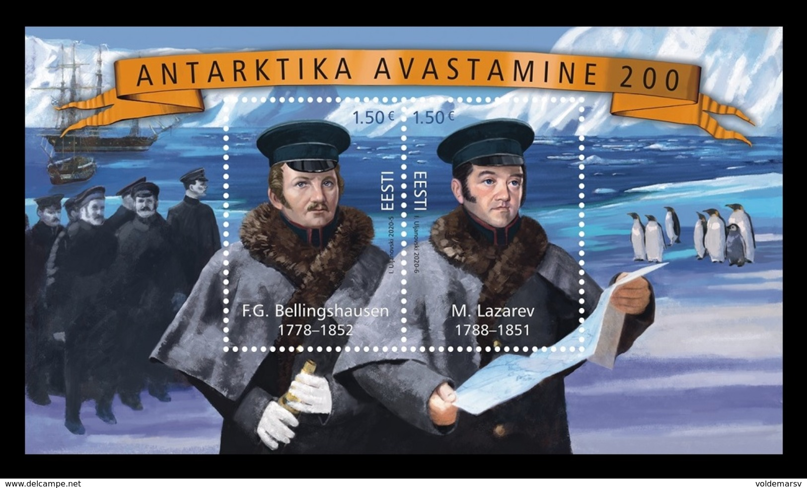 Estonia 2020 Mih. 975/76 (Bl.49) Discovery Of Antarctica. Ships. Penguins (joint Issue Estonia-Russia) MNH ** - Estonia